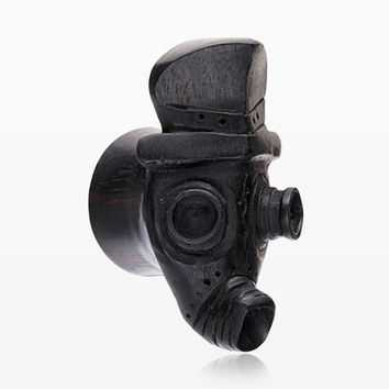 A Pair of Steampunk Gas Mask Arang Wood Double Flared Plug