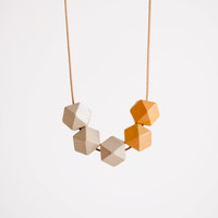 Geometric Necklace / Boho Necklace / Wooden Necklace/ Yellow White Necklace