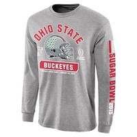 Mens Ohio State Buckeyes Gray 2015 College Football Playoff Sugar Bowl Bound Facemask Long Sleeve T-Shirt