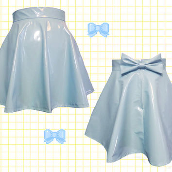 Pastel BLUE PVC skater skirt with removable BOW back