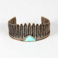 Native Feathers and Marble Cuff Bracelet