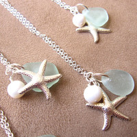 Seafoam seaglass starfish necklace with fresh water pearl - FREE SHIPPING - Best Holiday Gift to girlfriend, sisters, BFF or yourself