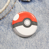 Pokeball 1.25 Inch Pin Back Button Badge