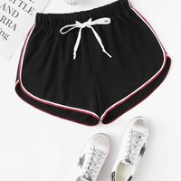 Striped Dolphin Drawstring Shorts