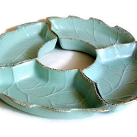 Mid Century Vintage Ceramic Lazy Susan or Serving Dishes Aqua Bisque with Gold