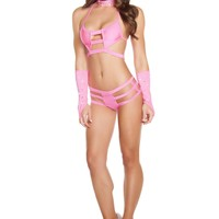 Triple Strapped Bottom - Hot Pink