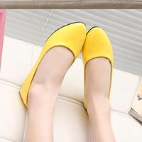 Women Leather Single Shoes Shallow Round Tow Spring Autumn Ballet Flats Shoes