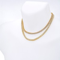 """Jewelry Kay style Men's Iced Out 4 mm Stone 2 Combo Set Short 16"""" / 18"""" Tennis Chain Necklace"""