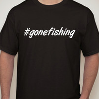 Mens Black Tshirt #gonefishing. Hashtag tshirt for men.fishing t-shirt.mens clothing. mens t-shirt.fisherman.gone fishing.fishing shirt.