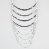 Full Tilt 8 Row Curve Bar Chain Necklace Silver One Size For Women 24273214001