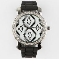Tribal Face Rhinestone Watch Black One Size For Women 25190710001