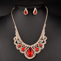 Water Drop Cut Out Wedding Jewelry Set