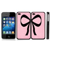 Friendship Best Friend Ribbon Pink Bow Polka Dot BLACK Snap-On Covers Hard Carrying Cases for iPhone 4/4S - Set of 2 Cases