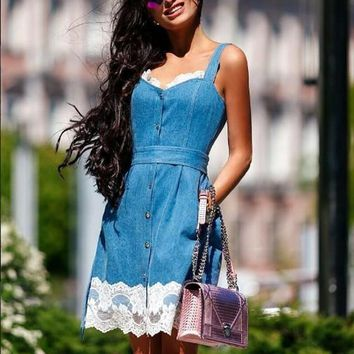 Casual Blue Patchwork Lace Shoulder-Strap Single Breasted Cute Teens Overall Mini Dress