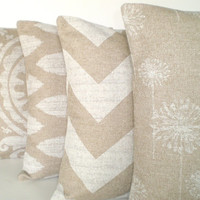 Pillows Decorative Throw Pillows Cushion Covers Natural Off White Burlap-Like  BOTH SIDES - Combo Set of Four 16 x 16