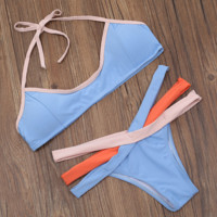 HOE SALE fashion sexy upper pink edge hanging neck blue and under three color straps two piece