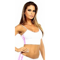 Sexy Neon Trim Warm Up Triple Stripe Work Out Fitness Crop Top - White/Hot Pink