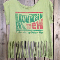 Grunge, super soft Mountain Dew  T Shirt cut off and fringed