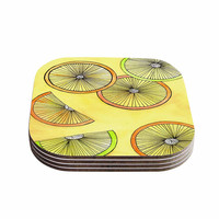 """Rosie Brown """"Lemons And Limes"""" Yellow Fruit Coasters (Set of 4)"""