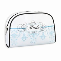 White with Black & Blue Bride Cosmetic Bag