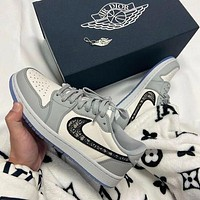 Dior x Nike Jordan I AJ1 leather high-top sneakers Shoes