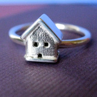 Tiny House Silver Ring