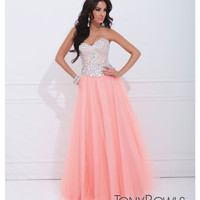 (PRE-ORDER) Tony Bowls 2014 Prom Dresses - Light Coral Jeweled Strapless Sweetheart Tulle Gown