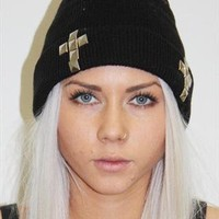 Black Grunge Cross Studded Beanie Hat  from Boutique 73
