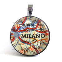 Road Map Pendant of Milan, Italy, from Vintage in Glass Tile Circle