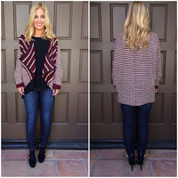 Naya Soft Knit Cardigan - BURGUNDY & IVORY