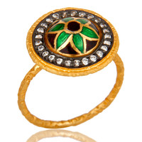 22K Gold Plated Sterling Silver Enamel Design indian Traditional Fashion Ring
