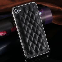 Luxury PU Leather Case for iPhone 5 5S /4 4S Grid Pattern Back Skin Cover RCD259 _15% OFF for 2PCS!