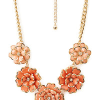 FOREVER 21 Luxe Cluster Floral Bib Necklace Peach/Gold One