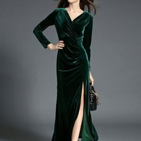 Long Velvet Cross Over Dress - 2 Colors