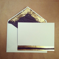 Black and Gold Lined Card and Envelope