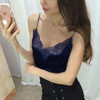 Stylish Summer Sexy Beach Bralette Comfortable Hot Spaghetti Strap Winter Velvet Lace Leaf Patchwork Vest [9643027919]