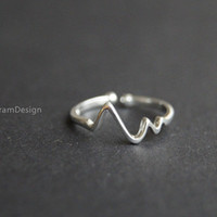Ring--925 Sterling Silver heart rate ring,adjustable heart beat ring