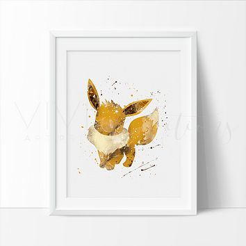 Eevee 2, Pokemon Go Watercolor Art Print