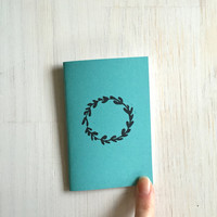 Small Notebook: Wreath, Blue, Stocking Stuffer, Stocking Stuffers, Favor, Fun, Unique, For Her, For Him, Gift, Journal, Notebook, FFF633