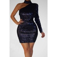 Midnight Sequin Sexy Mini Dress