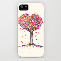 Love in the Fall - Heart Tree Illustration iPhone & iPod Case by micklyn