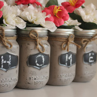 Distressed Mason Jars, Painted Mason Jars, Taupe Mason Jars, Home Mason Jars, Rustic Jars, Rustic Home Sign, Mason Jar Vase, Rustic Vase,