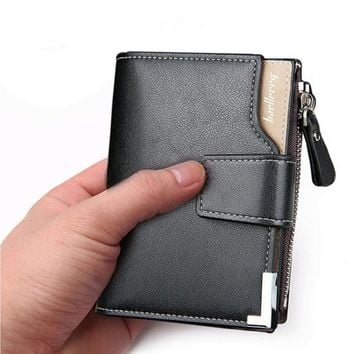 Genuine Leather Men Wallets Zipper Coin Pocket Sample Solid Men Leather Wallet Card Holder High Quality Male Purse cartera