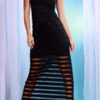Stripe See-Through Sexy Scoop Neck Sleeveless Maxi Dress For Women