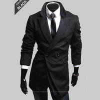 Fashion Men Black Blazer Winter Coat