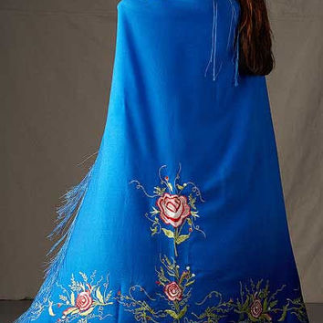 Native Dance Shawl in Royal Blue, Womens Fancy Shawl Dance Regalia