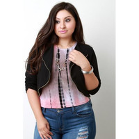 Textured Knit Zipper Trim Crop Cardigan