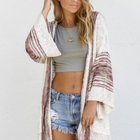 Always Warm Oatmeal Boho Open Knit Cardigan Sweater