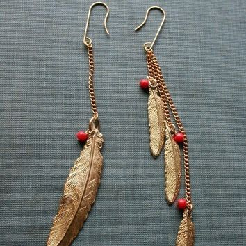 Cherokee Eagle Feathers - Brass Vintage Bead and Chain Earrings