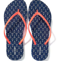 Womens Old Navy Flip Flop Sz 7,8,9,10 Navy Anchor Blue NWT